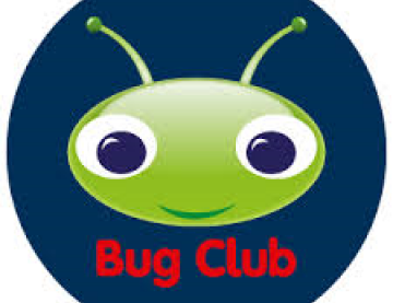 Pearson Bug Club logo, blue background with a green bugs head with antenna