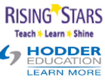 At top is Rising Stars logo with text 'Teach, learn, Shine' further down is Hodder Education Logo with text 'Learn more'