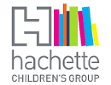 Logo and text for Hachette Childrens group with upright books leaning agains a  letter 'H'