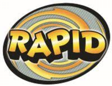 Rapid logo of text in black and gold circle