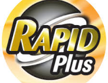 Rapid Plus logo in black and gold circle