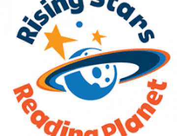 Rising Stars Reading planet logo of a planet with rings around and stars with text