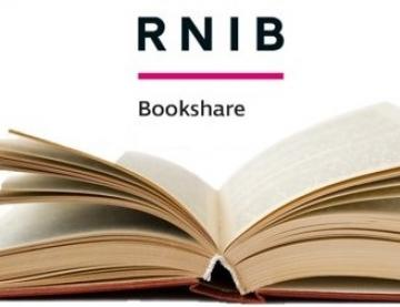 Open book with RNIB Bookshare logo further up the image