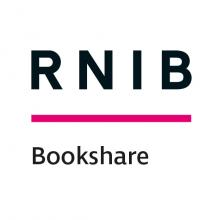 RNIB logo, RNIB in clear black text with cerise pink thick line below