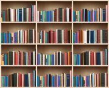 Shelves full of colourful books