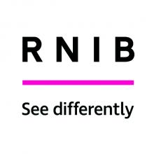 RNIB logo. 'RNIB' and 'See differently' as text, thick cereise horzonal line separating  the text
