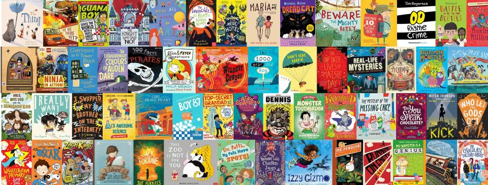 rows of childrens popular book covers