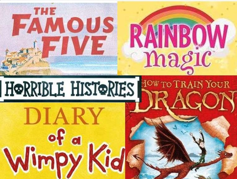 Book series logos - The 'famous Five', 'Rainbow Magic', 'Horrible Histories', 'Diary of a Wimpy Kid' and 'How to train your Dragon'