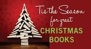 'Tis the season for great chrismtas books' a christmas tree made of books.