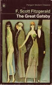 book cover of ' The Great Gatsby', 4 elongated styilised people, dressed in 1920's style dress, the man on the left in evening dress with top hat