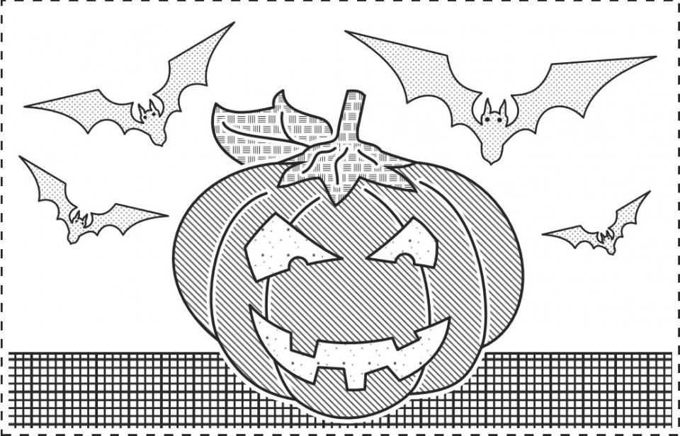 Halloween tactile image of pumpkin with scary face and flying bats