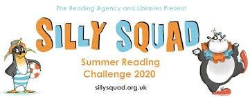 The Reading Agency and libraries present the Silly Quad Summer Reading Challenge 2020  SillySquad.org.uk. Image of  cartoon animals, a penguin dressed in blue striped bathing suit, beach ball and straw hat and a Panda clown