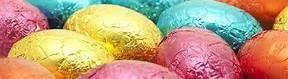 easter eggs, chocolate and covered in coloured foil