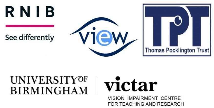 Logos of  RNIB, VIEW, Thomas Pocklington Trust,  and University of Birmingham VICTAR