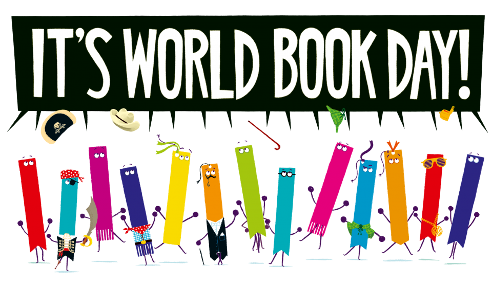 A number of cartoon bookmark cartoon characters including cowboy, pirate, rapper, sherlock holmes throuwing their hatts in the air with sppech bubble with text 'It's World Book Day 2020!'
