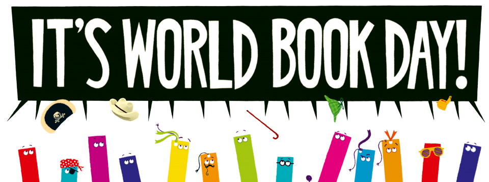 heads of cartoon bookmarks throwing their hats in the air with a big speech bubble saying 'World Book Day'
