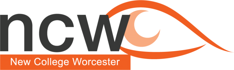 New College Worcester as text with 'ncw' with an eye logo