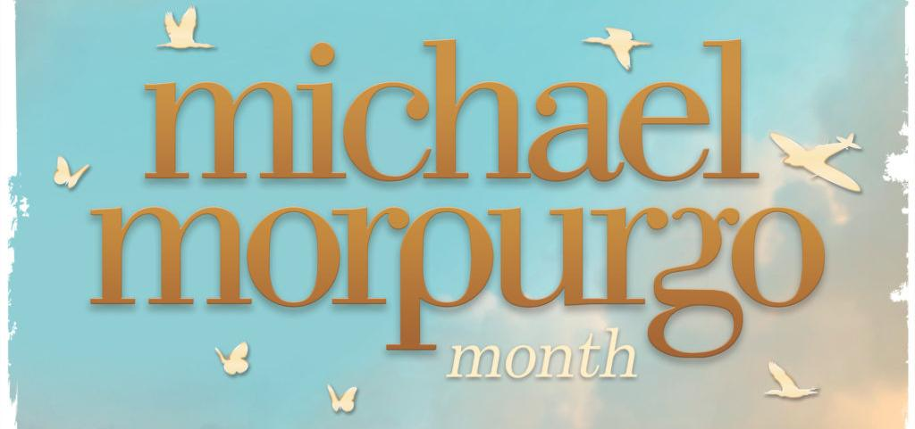 Text 'Micheal Morpurgo Month February 2020' calm sea and sky with planes, birds in silhouette