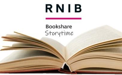 open book with RNIB Bookshare logo and text 'Storytime'