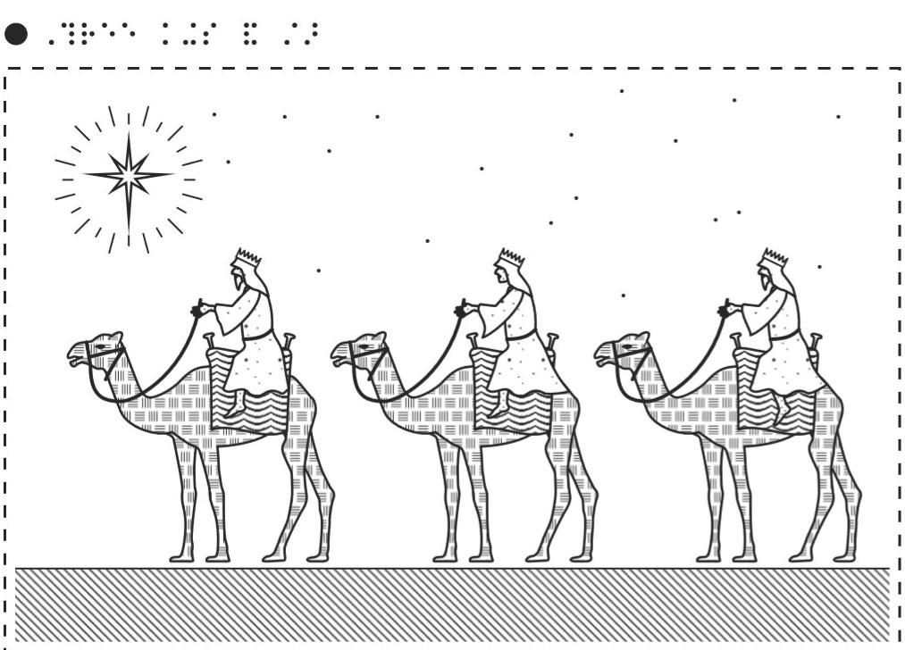 Three Wise men travelling on Camels through the desert, a star is shining their way