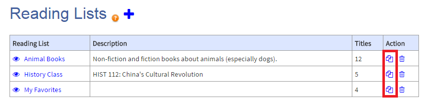 The copy button, a icon that has two pages stacked on top of each other, appears under the Action column of the My Reading Lists page.