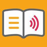 EasyReader logo, open book with text and audio symbol