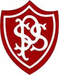Priestely Smith school logo, red shield, with 'P', 'S', 'S' over laid one another in white