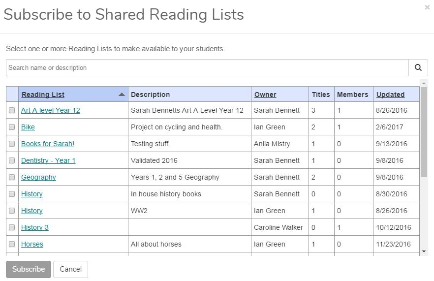 Example table of available reading lists to subscribe to